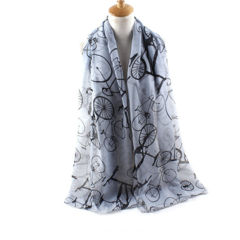 Fashionable Cosy Shawl / Scarf for Women Viscose Bicycle Pattern