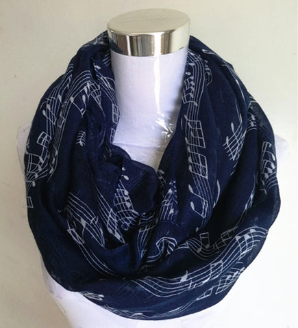 Infinity Foulard  Scarf / Shawl for Women - Musical Notes