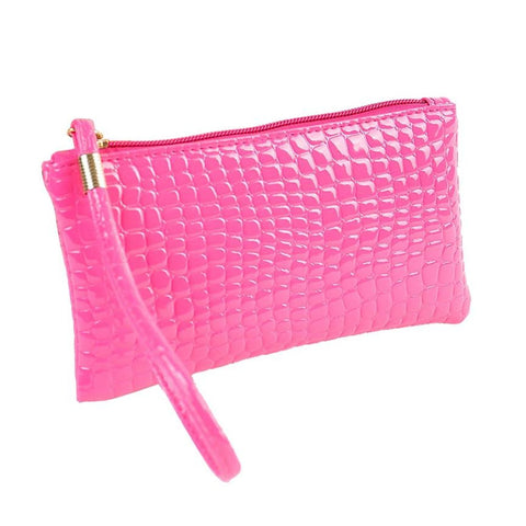 Leather Clutch / Long Wallet and Coin Purse - Alligator Style