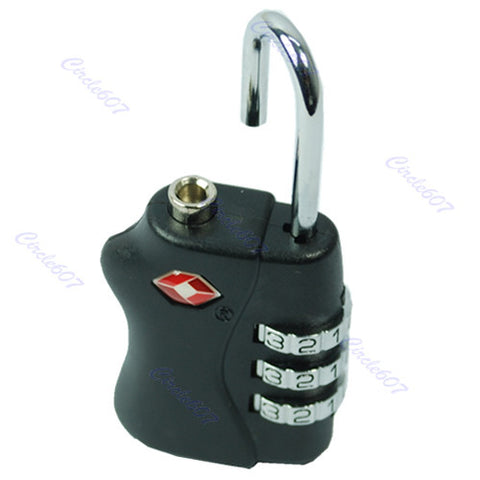 TSA Lock Heavy Duty Quality 3 Digit Combination Luggage Padlock Travel Security Approved (Black)