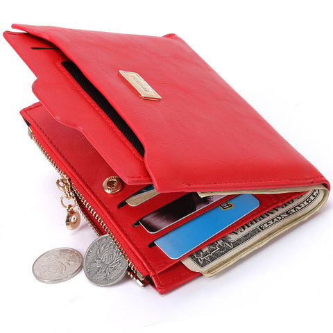 Fashion Zipper Leather Coin Card Holder Photo Holders Women Purse Wallet
