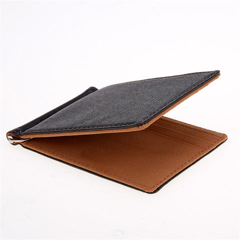 Synthetic Leather Money Clips Sollid Thin Wallet For Men