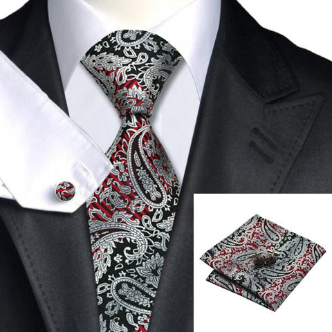 Gift Set: Lightgrey Red Black Paisley Tie and Hanky Cufflinks for Men