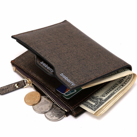 Casual Men Wallets Bifold Wallet ID Card Holder Coin Pockets with Zipper