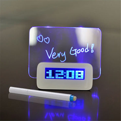 Blue LED Fluorescent Digital Alarm Clock with Message Board and 4 USB Port Hub