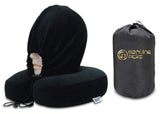 Luxury Memory Foam Neck Pillow with Hoodie. Water Proof Carry Bag. Perfect Gift Idea (Black)