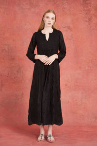 Embroidered Silk Dress Black With Black