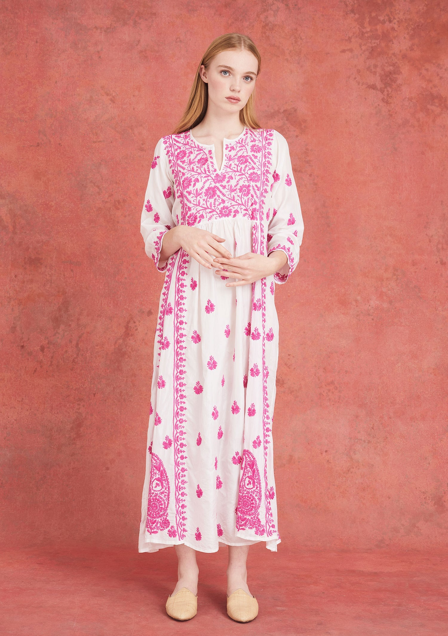 Embroidered Silk Dress White and Pink