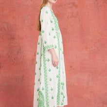 Embroidered Silk Dress White and Green