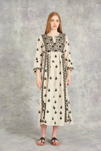 Embroidered Silk Dress Ivory With Chocolate