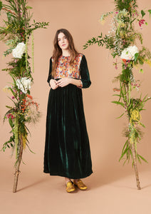 Touba Dress Poppy White and Dark Green Velvet
