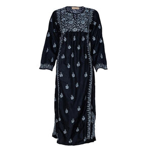 Embroidered Silk Dress (Black with Grey Embroidery)