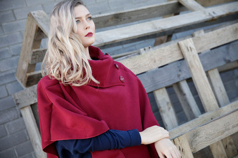 WINE COLOURED WOOL PONCHO