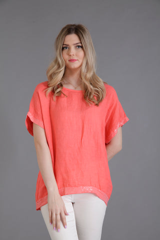 coral linen top