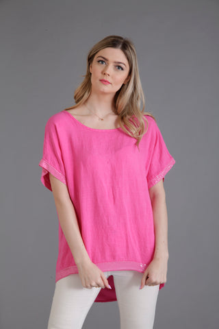 hot pink linen top edged with sequins