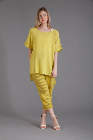 citrus coloured linen top and linen trousers