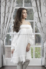 ladies white linen tunic dress