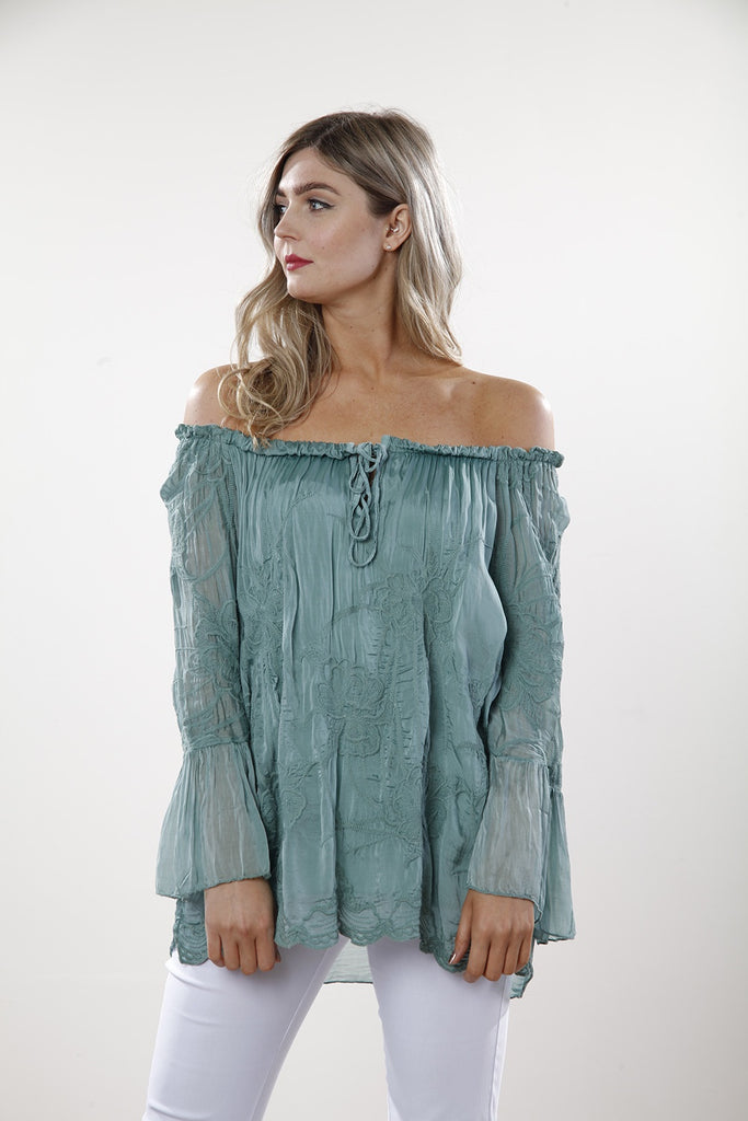 Teal Lace Gypsy Style Top - Goose Island