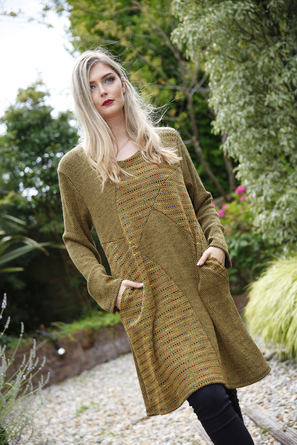 Mustard Knitted Panel Dress