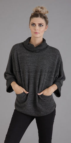 Dark Grey Cowl Pocket Knitted Top