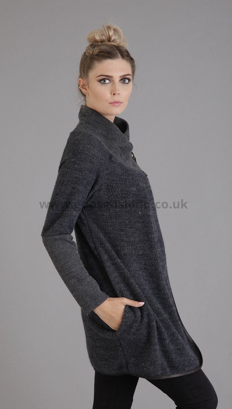 Navy Button Knitted Jacket