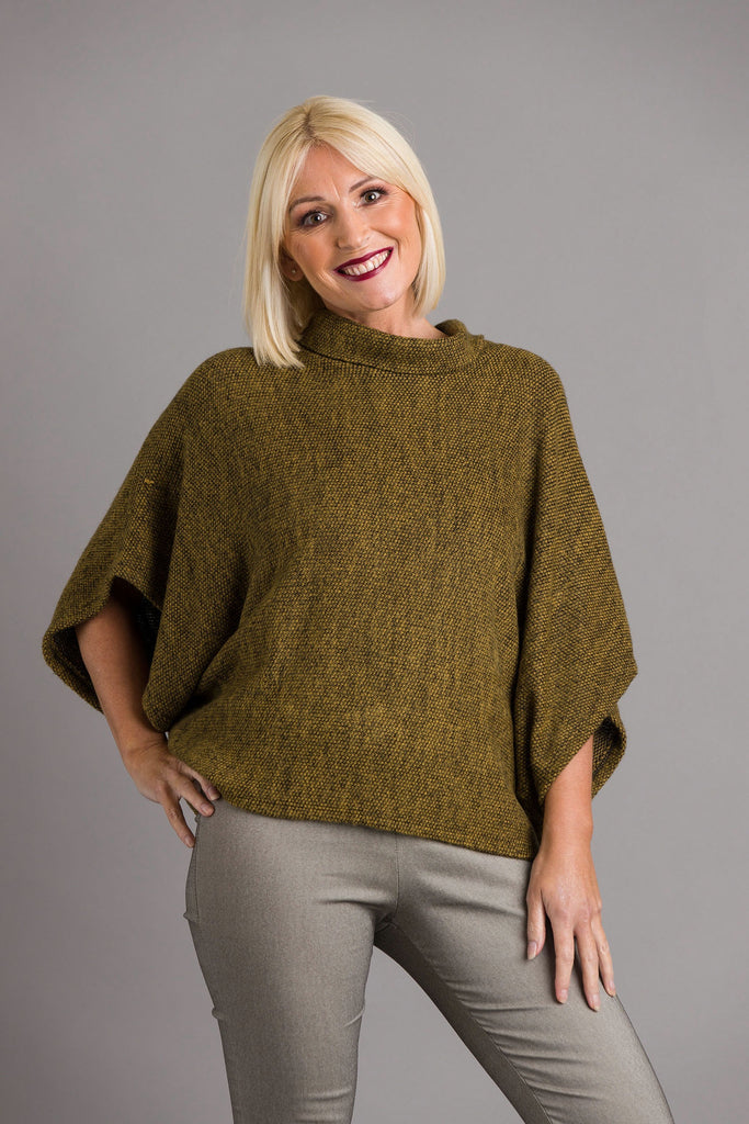 Mustard Cowl Neck Poncho Top