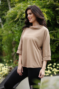 Coffee Button Neck Top - Goose Island