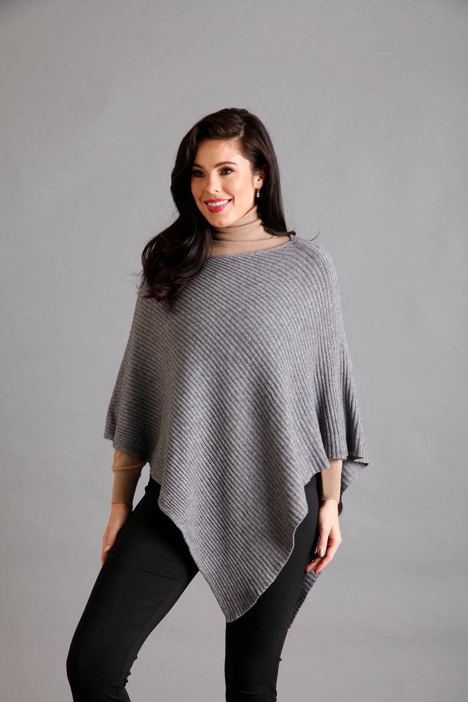 Grey Ribbed Poncho