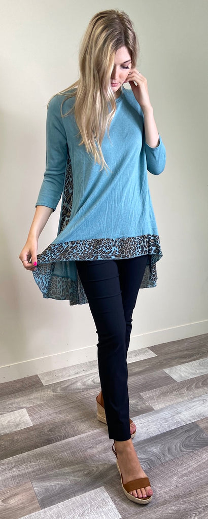teal animal print top
