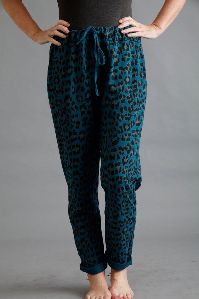 Teal Leopard Print Casual Trouser