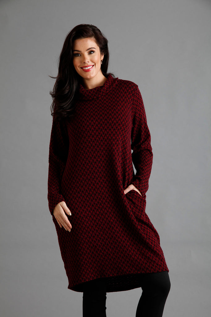 Plum Zig Zag Cowl Neck Dress