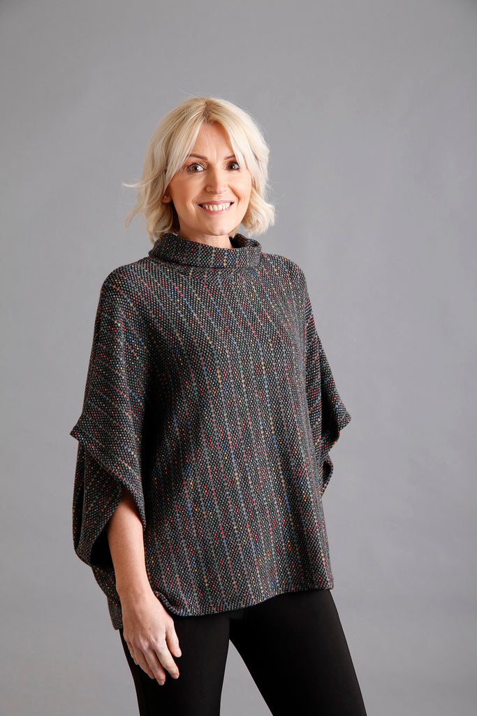 Grey Cowl Neck Jumper with Lurex