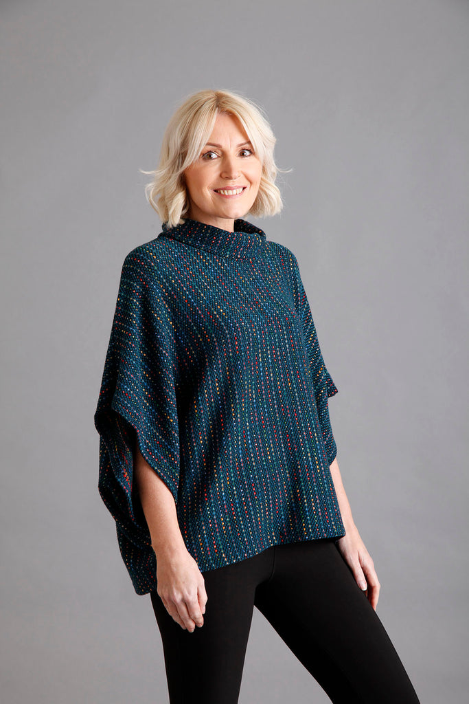 Teal Cowl Neck Jumper with Lurex