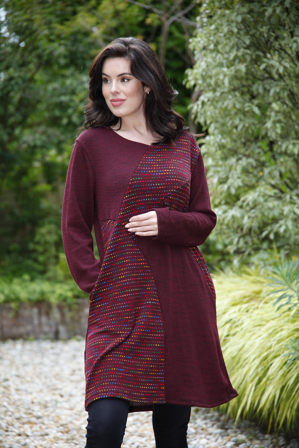 plum knitted dress