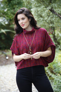 Plum knitted poncho top