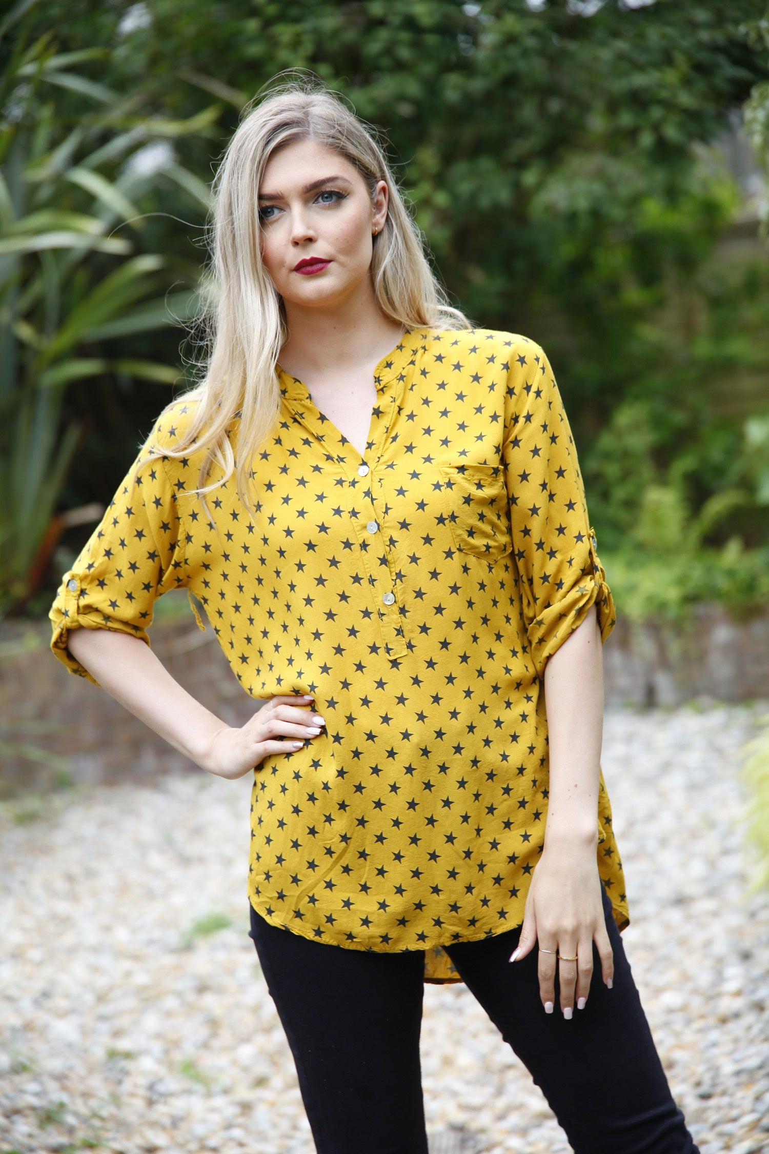 gold star print blouse