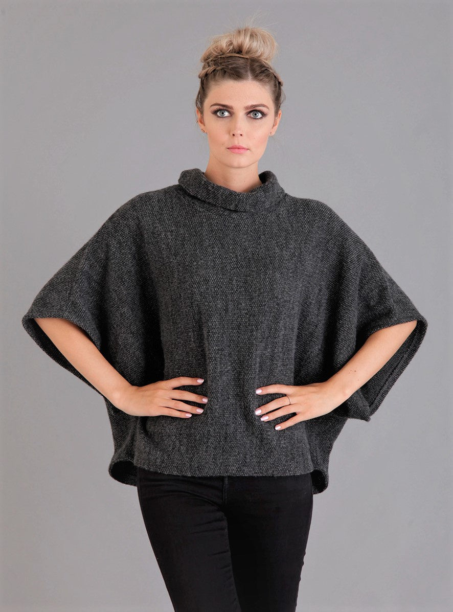 Dark Grey Cowl Poncho Top