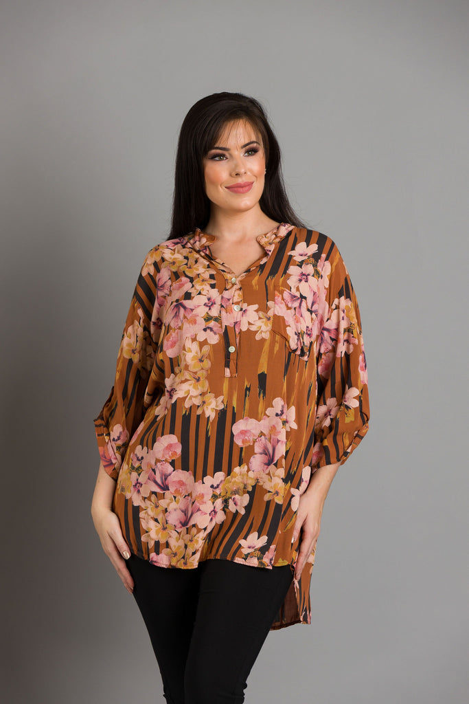 Rust Stripe Flower Blouse