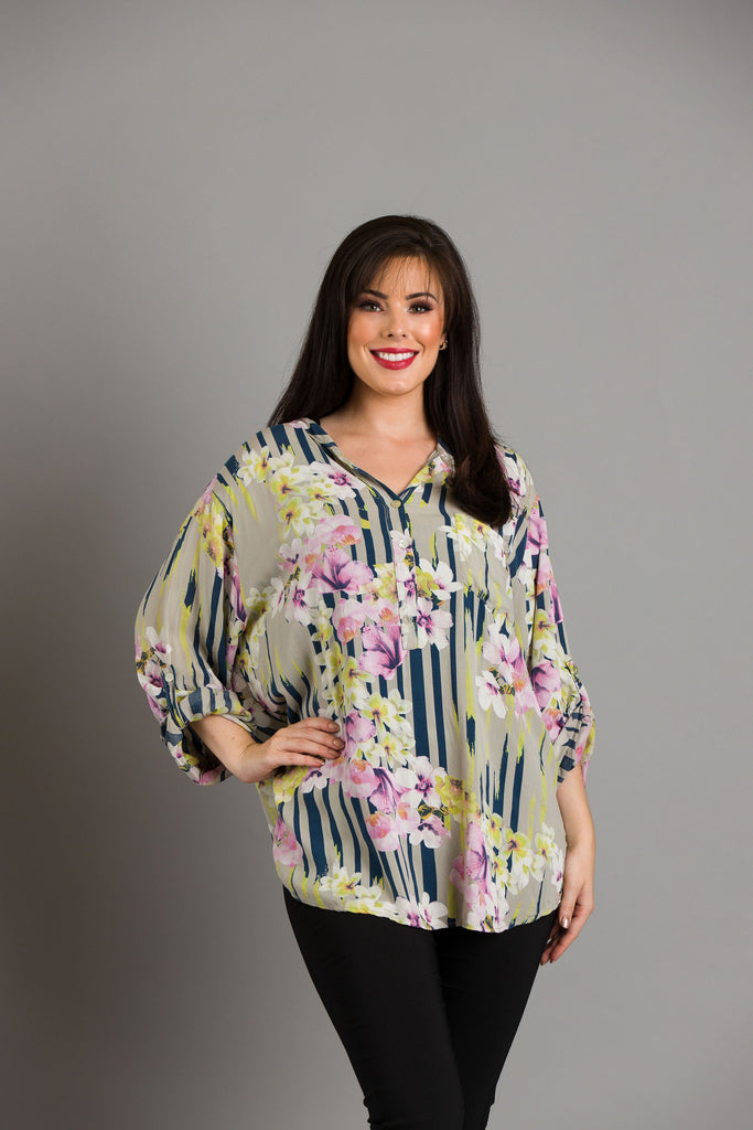 Mocha Stripe Flower Blouse