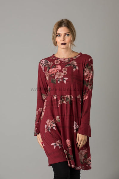 Plum Flower Print Tunic