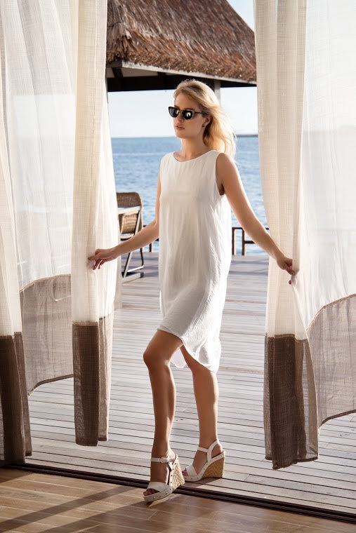 White Sleeveless Silk Dress - Goose Island