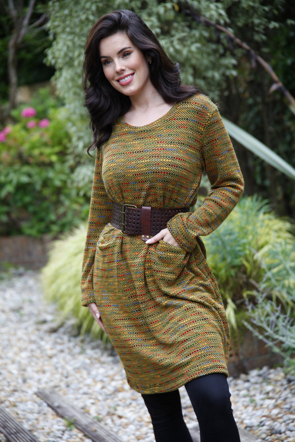 Mustard Knitted Pocket Dress - Goose Island