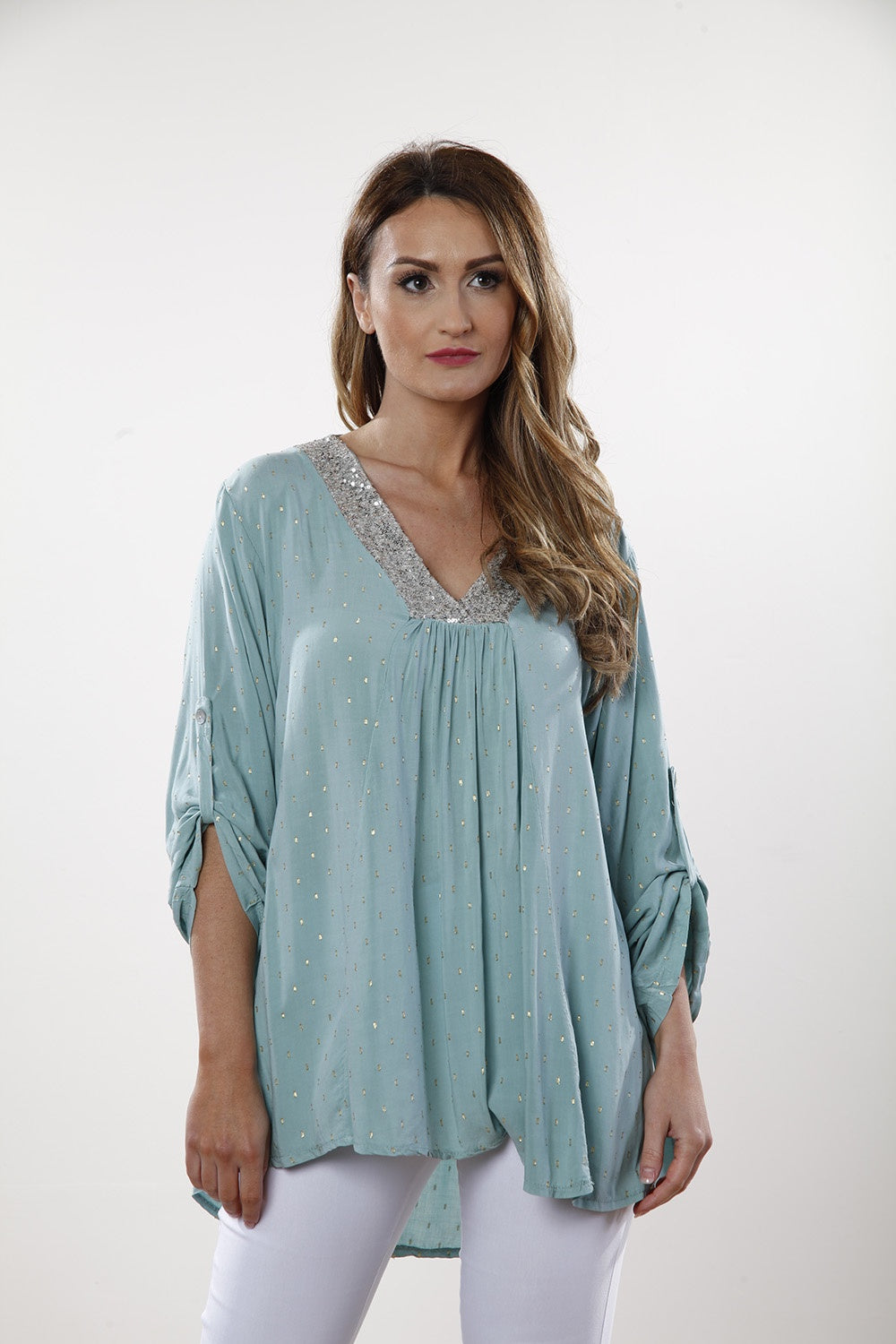 Teal  Sequin Neck Blouse - Goose Island