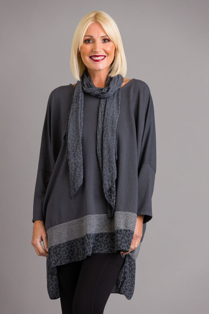 Grey Animal Print Lurex Tunic
