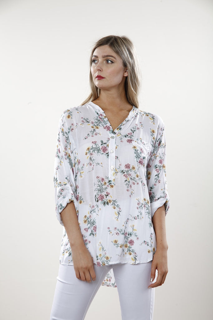 White Soft Flower Print Blouse - Goose Island