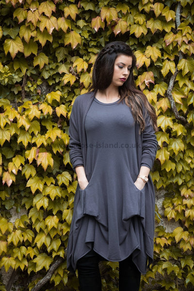 Dark Grey Rouch Cashmere Pocket Dress