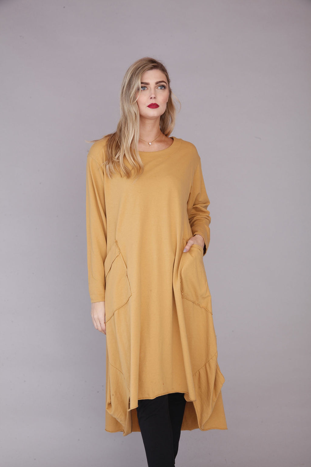 Mustard Plain Pocket Dress - Goose Island
