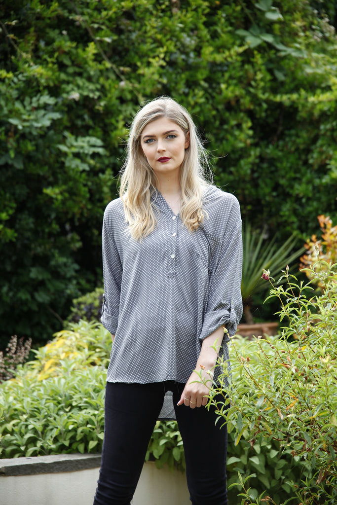 Grey Polka Dot Pocket Blouse - Goose Island