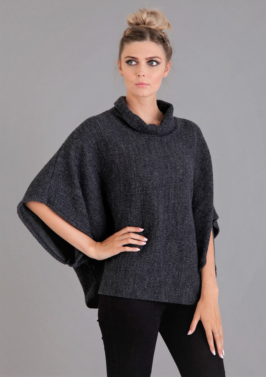 Navy cowl neck poncho top