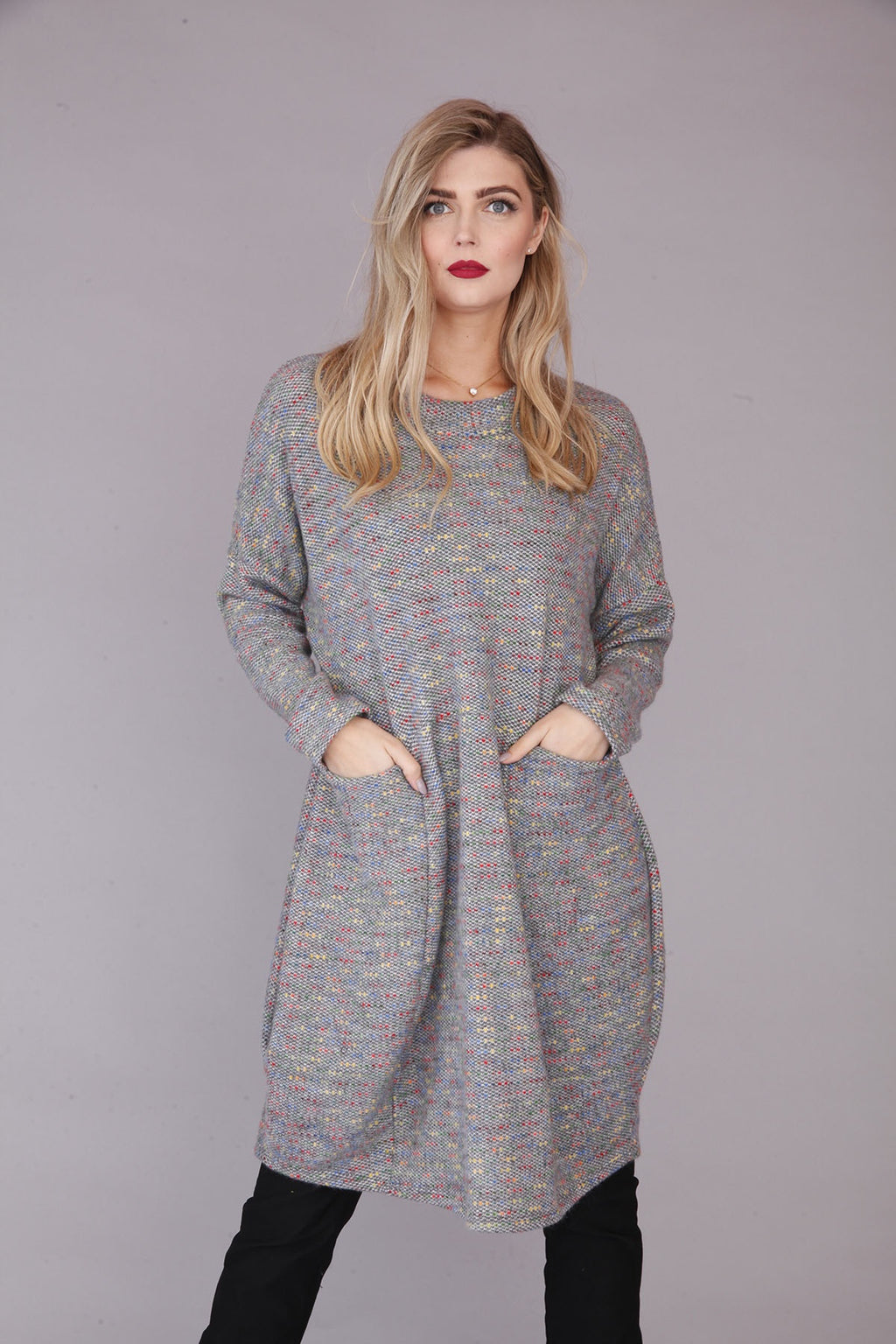 goose island grey wool dress